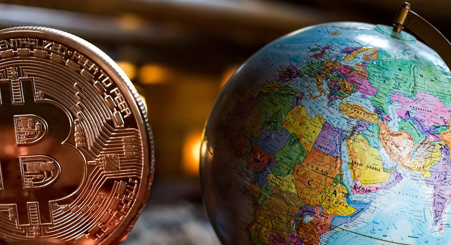 cryptocurrency world bitcoin globe